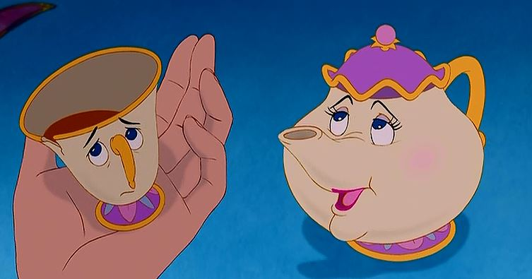 So...if Chip is a teacup, he doesn't really have a head, so would the tea be his brains? And if you drank all the tea, would he be dead since he would have no brains left? Am I overthinking this?