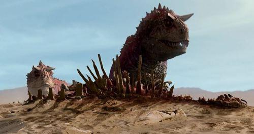 Liberties were definitely taken, since Carnotaurs are actually smaller than Iguanadons!