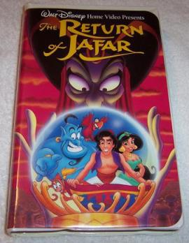 "It's called ""The Return of Jafar"", not ""The Return of Robin Williams""! And I...ooh, VHS! Pretty!"