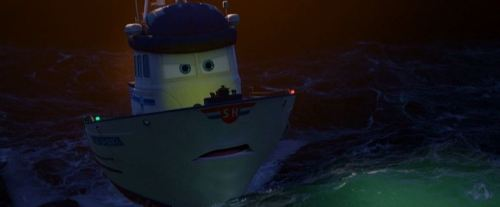 """Oh well, Finn's a spy car. He can take care of himself in the middle of the ocean."""